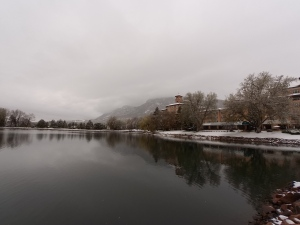 Thursday--snow at the Broadmoor, where the Space Symposium was ending that day.